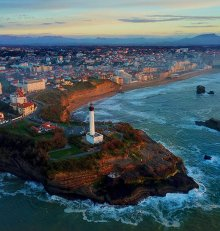 Biarritz from drone during quarantine lockdown