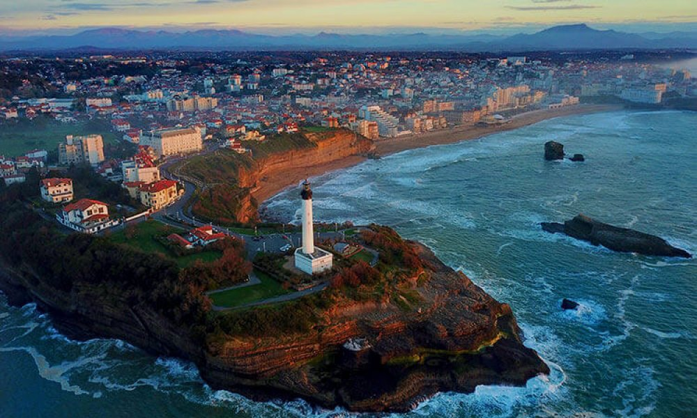 Drone footage of Biarritz